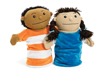 second step boy and girl puppets